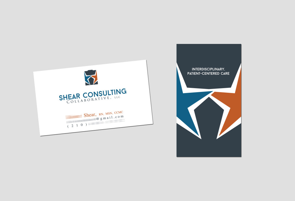 Branding Identity MockUp: Healthcare management consulting graphic design logo by Rhonda Wood Negard and fat dog creatives