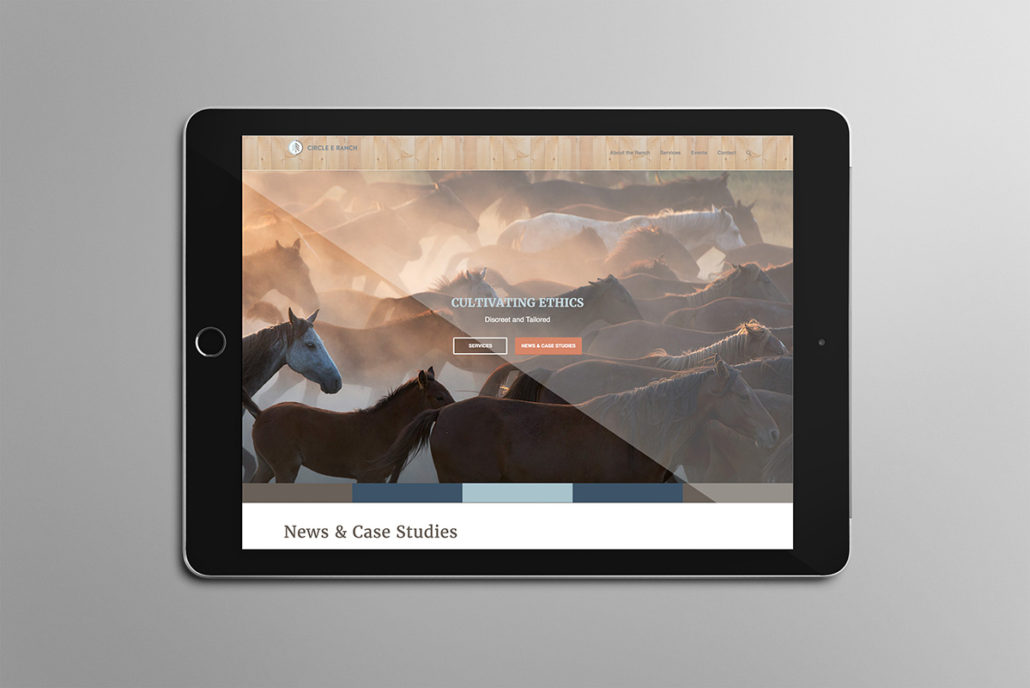 Circle E Ranch web site on a tablet