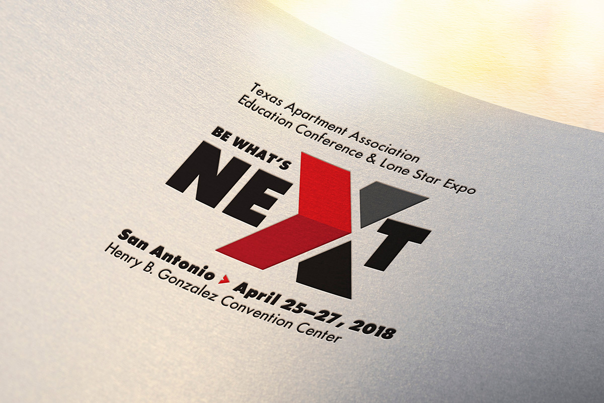 Be What's Next, TAA's 2018 event logo mockup