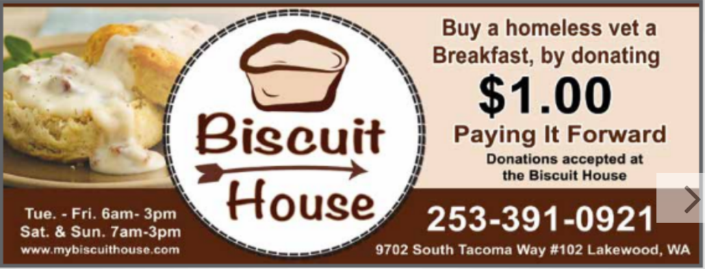 Ad for Biscuit House located in Tacoma/Lakewood in Community Shopper Magazine, Breakfast, Lunch, Catering