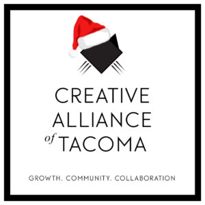 Creative Alliance of Tacoma's Christmas/Santa logo designed by Rhonda Negard of Fat Dog Creatives