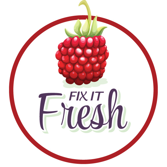 Fix It Fresh logo for social media design by Rhonda Negard and Fat Dog Creatives