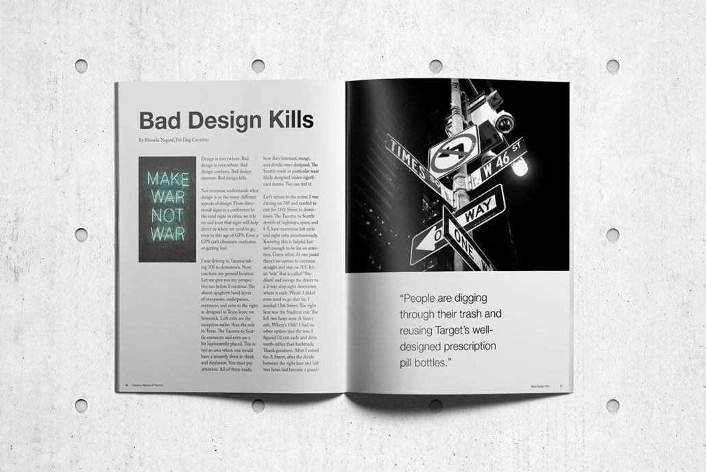 Magazine article spread for Bad Design Kills by Rhonda Negard