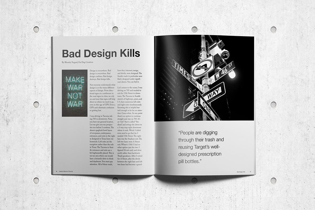 Magazine article spread for Bad Design Kills by Rhonda Negard