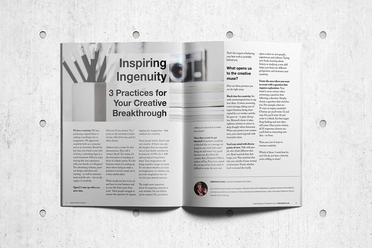 Magazine article spread for Inspiring Ingenuity by Deborah Olive