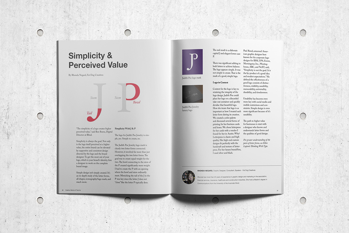 Magazine article spread for Simplicity and Perceived Value by Rhonda Negard