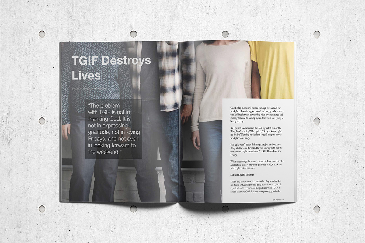 Magazine article spread for TGIF Destroys Lives by Aaron Schmookler