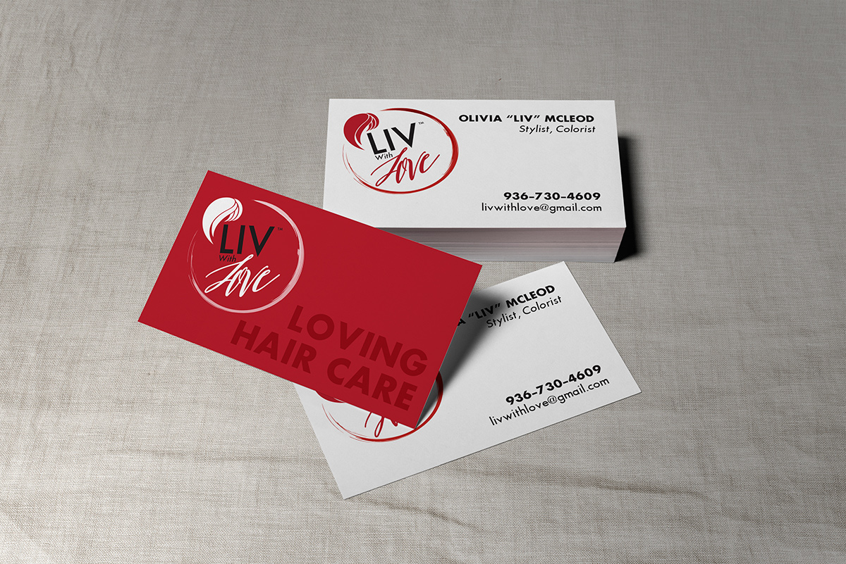 Liv With Love business card design mockup