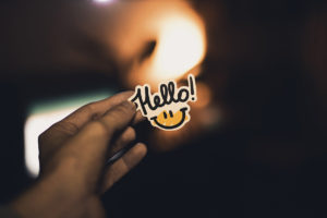Text that reads Hello with a smiley face drawn below