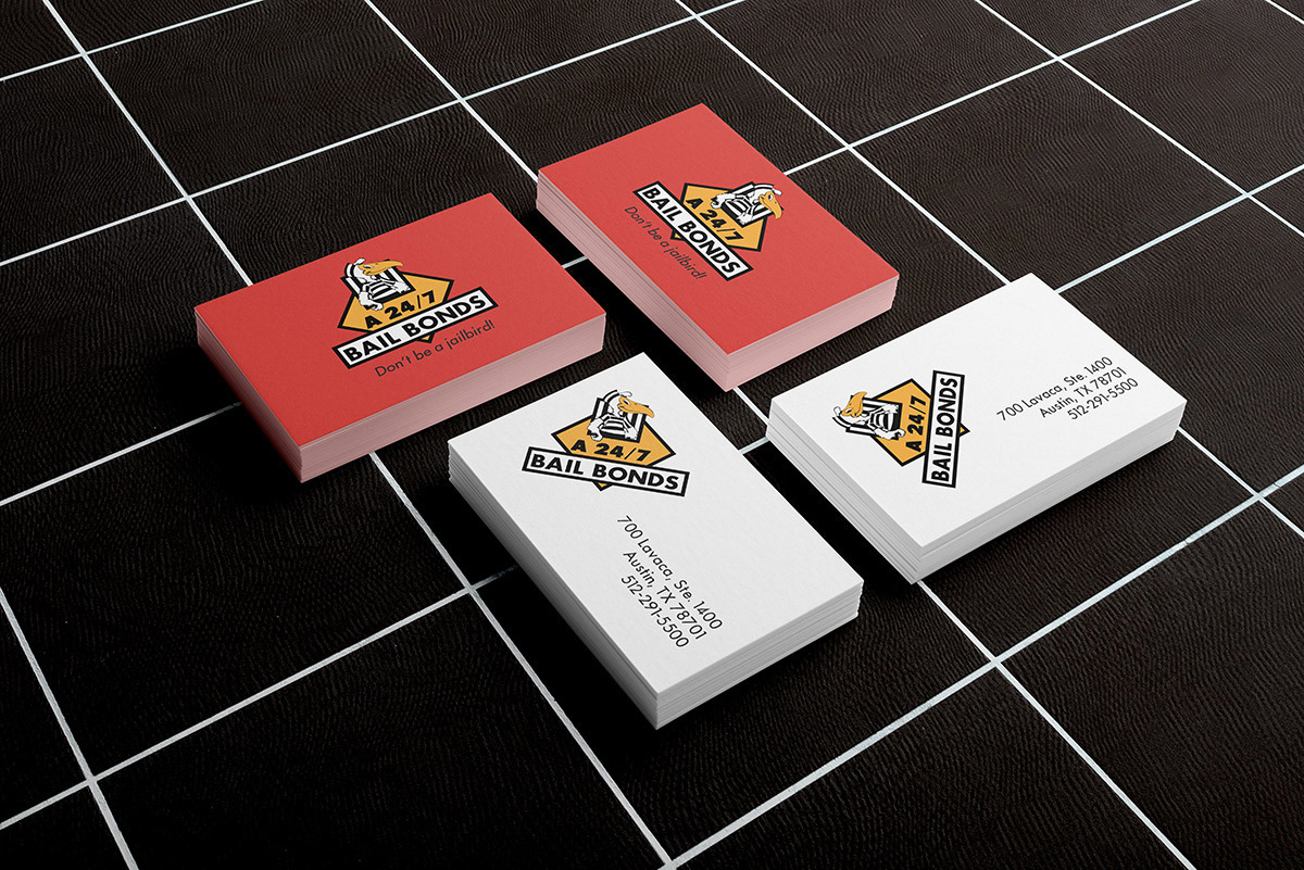 A 24-7 Bail Bonds logo redesign on business cards