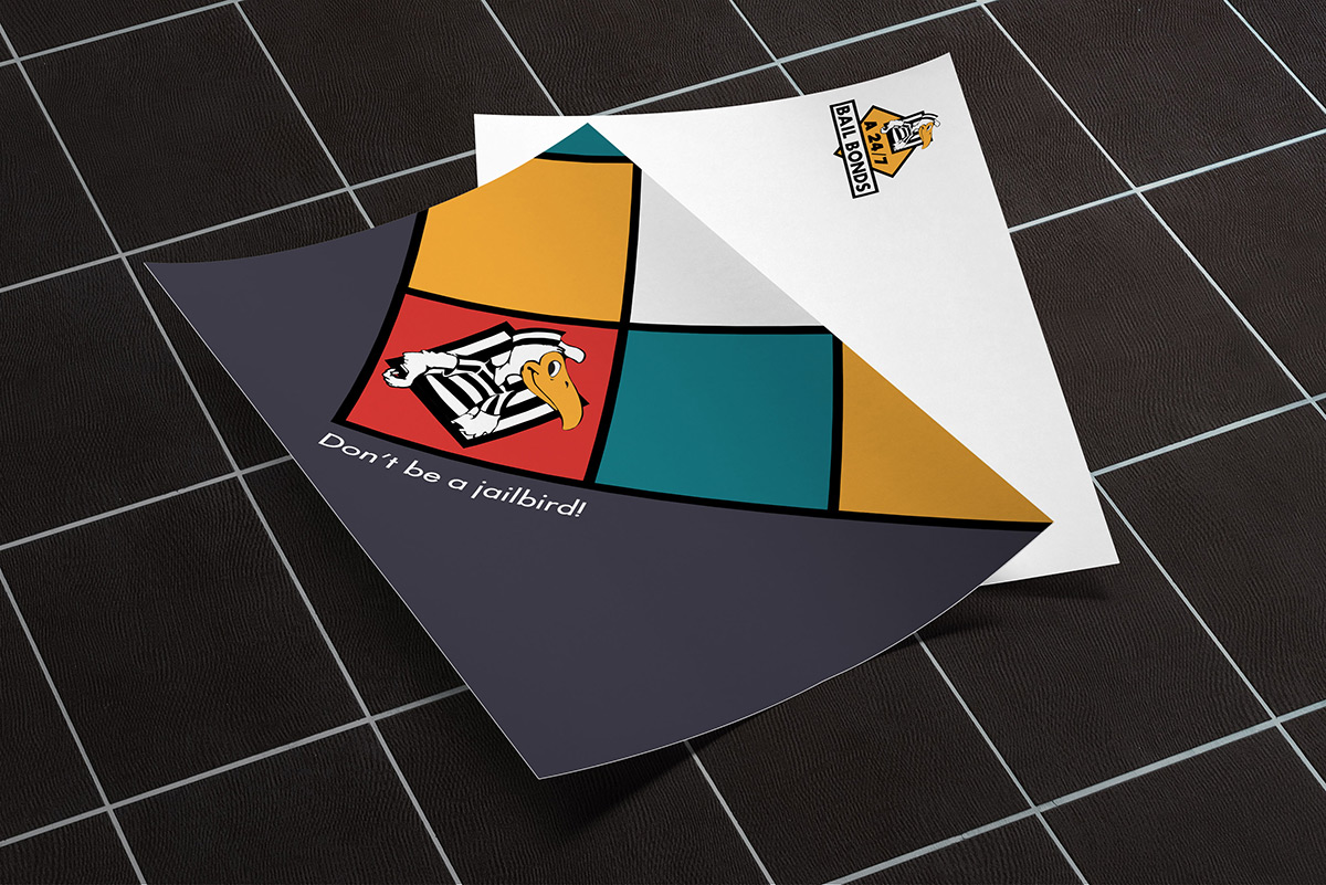 A 24-7 Bail Bonds logo redesign on a thank-you card