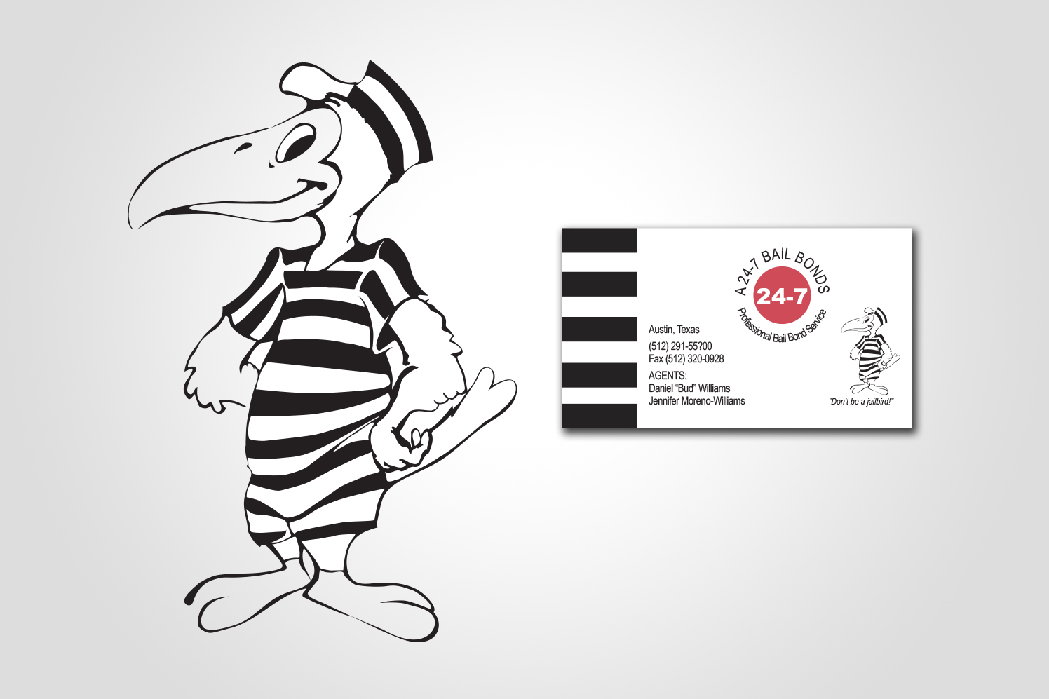 A 24-7 Bail Bonds logo, character, and business card design