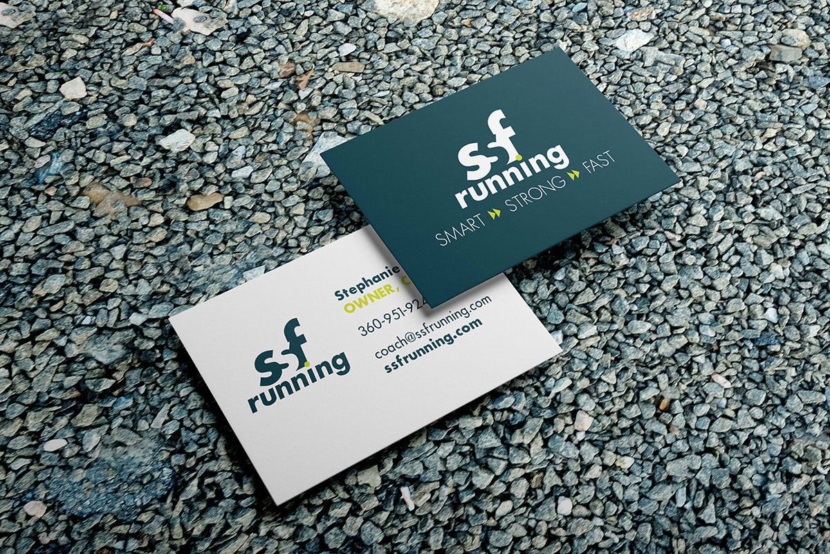 SSF Running logo mockup on business cards