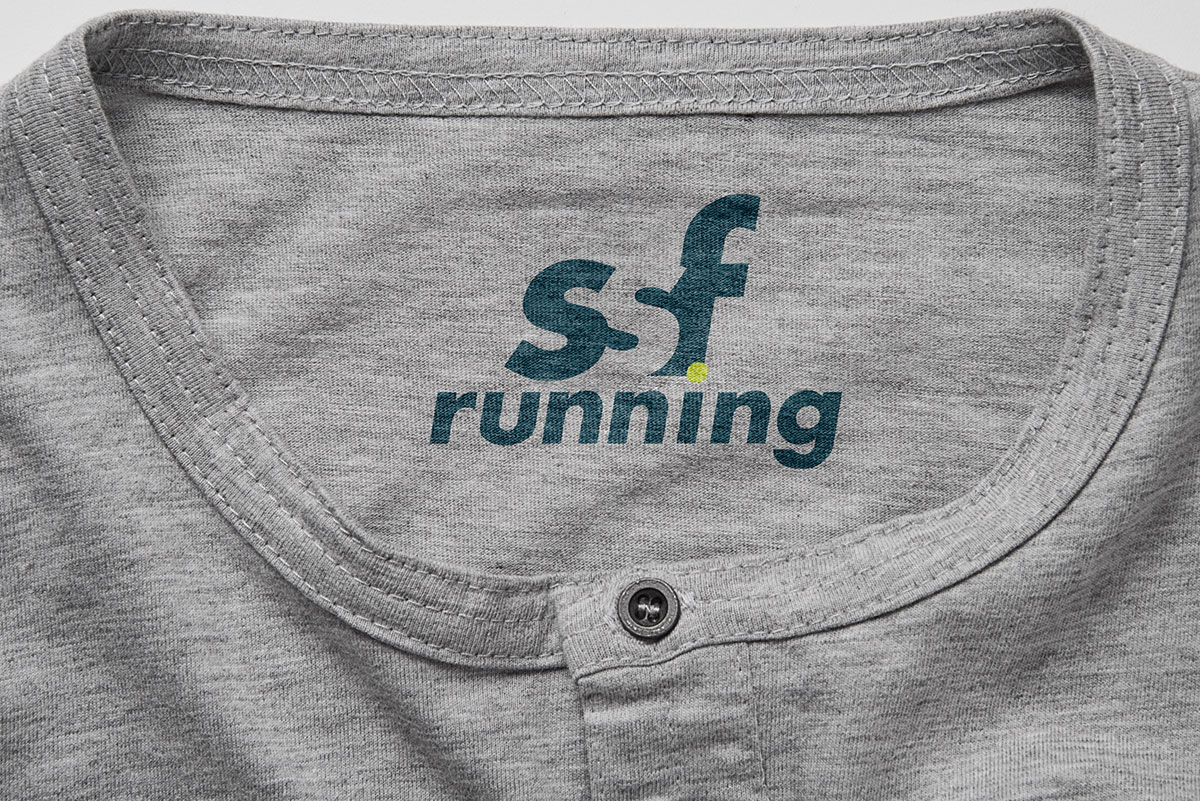 SSF Running logo mockup as a shirt label