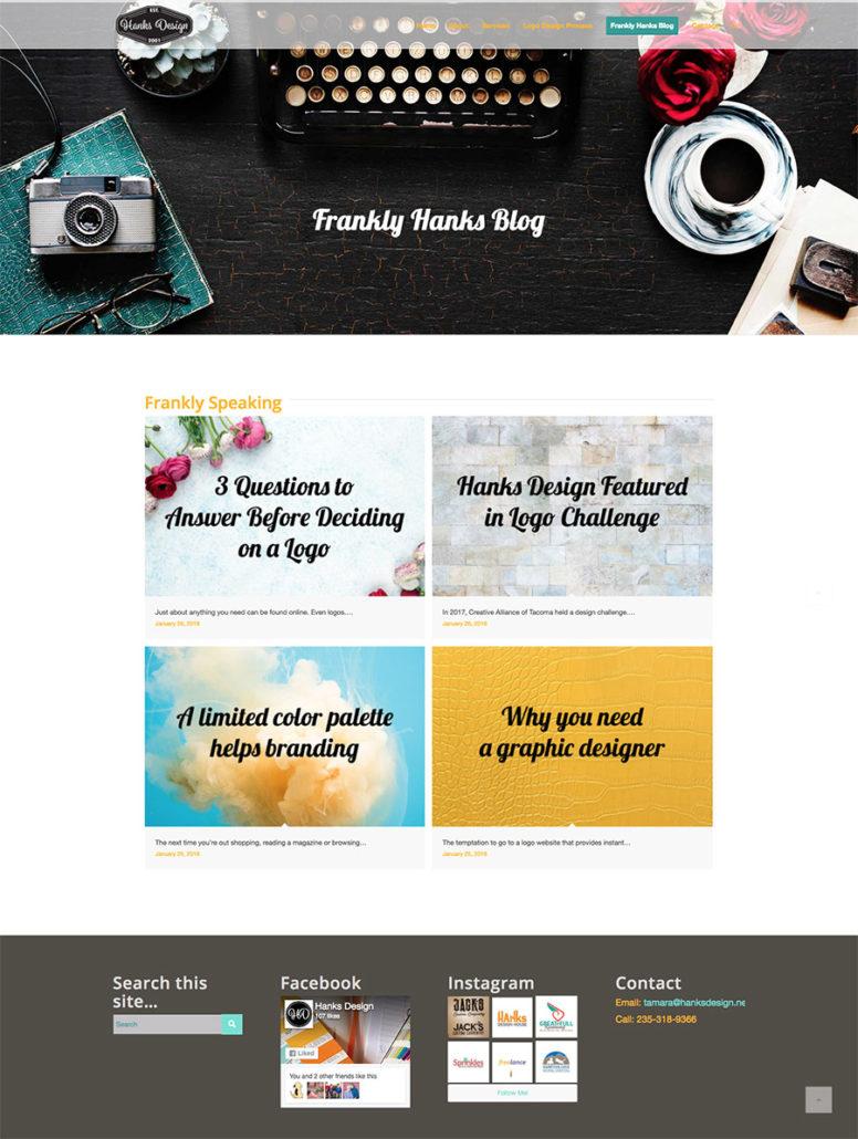 Hanks Design .net website screenshot
