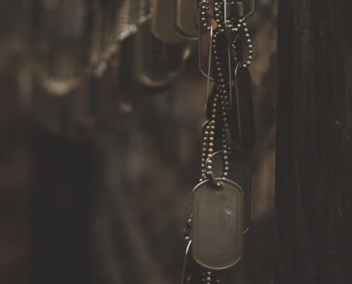 Photo of military dog tags
