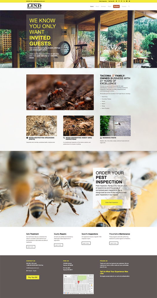 Screenshot of the Lind Pest Control home page