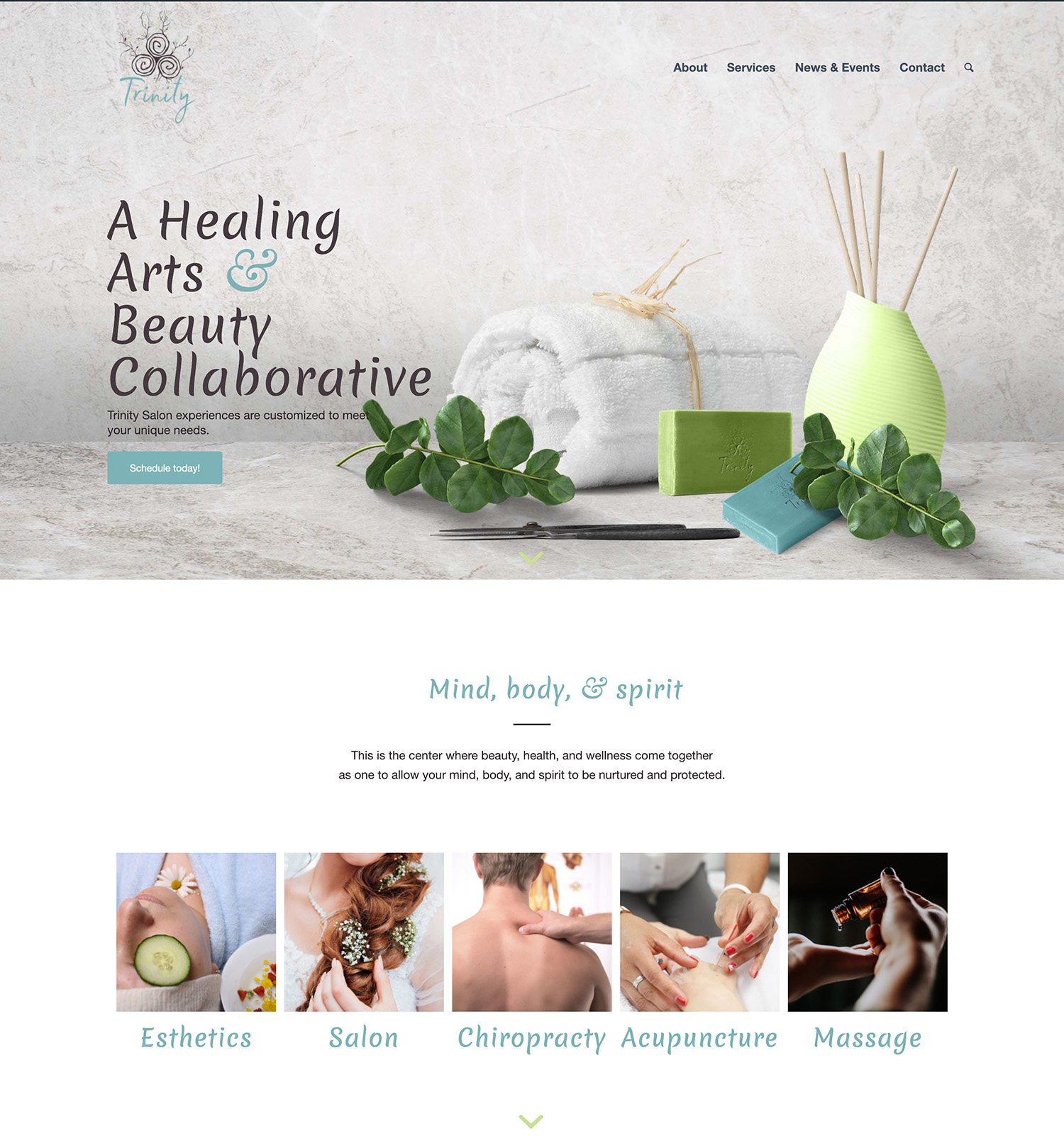 Screenshot of the new Trinity website