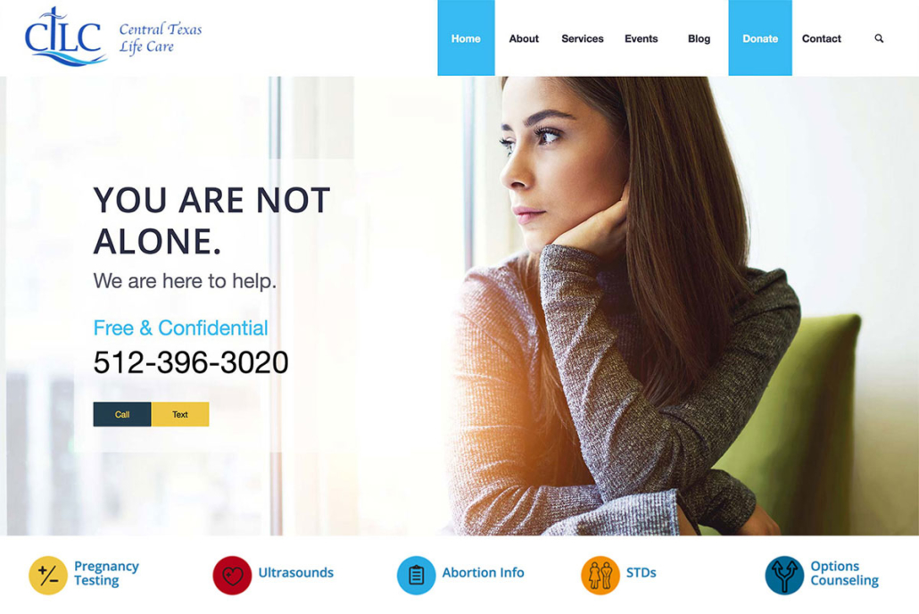 Image of Central Texas Life Care's new homepage design