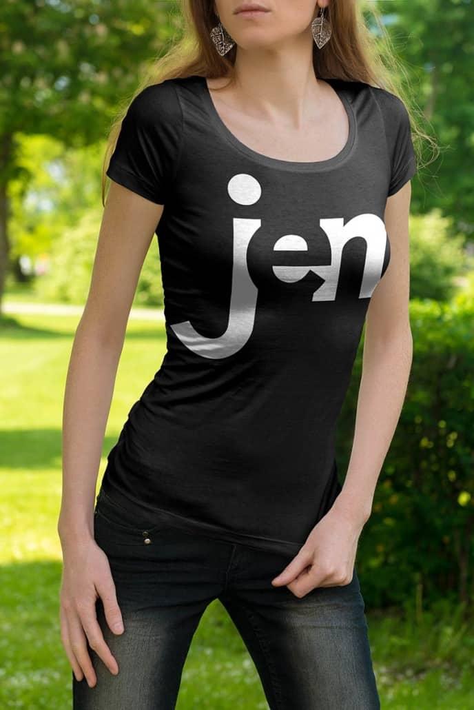 jen, personalize shirt mockup