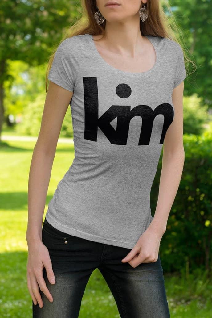 KIM, personalize shirt mockup