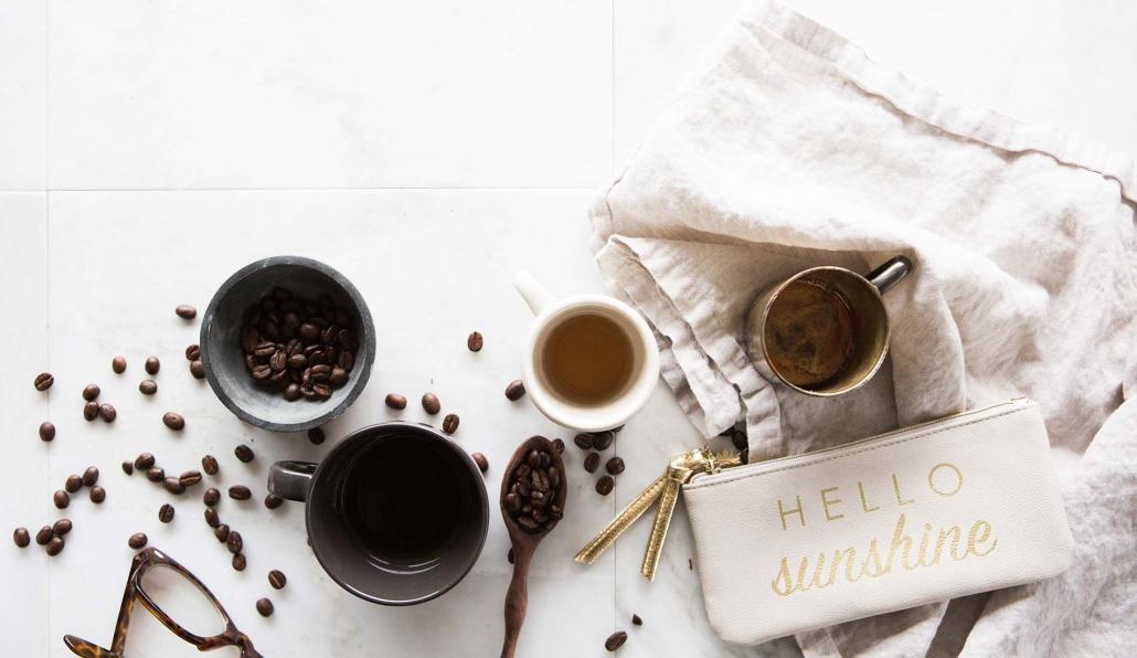 Photo of coffee and handbag