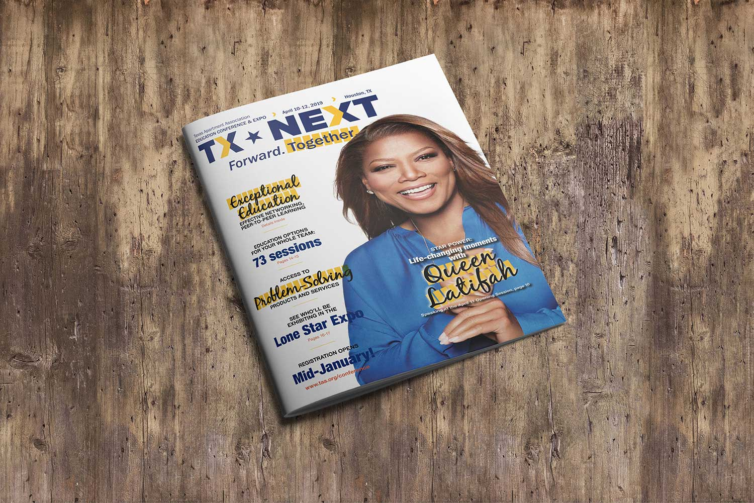 Texas Apartment Association annual event program cover with Queen Latifah