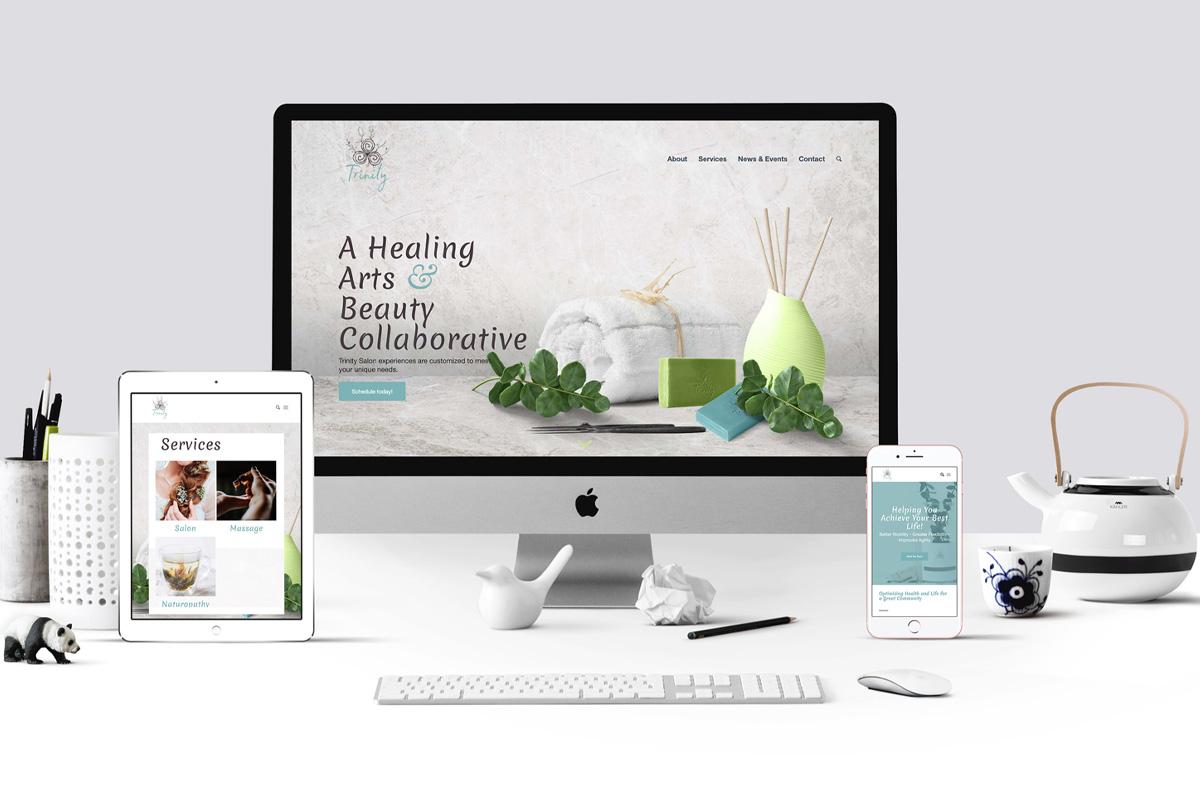 Mockup of the new Trinity website