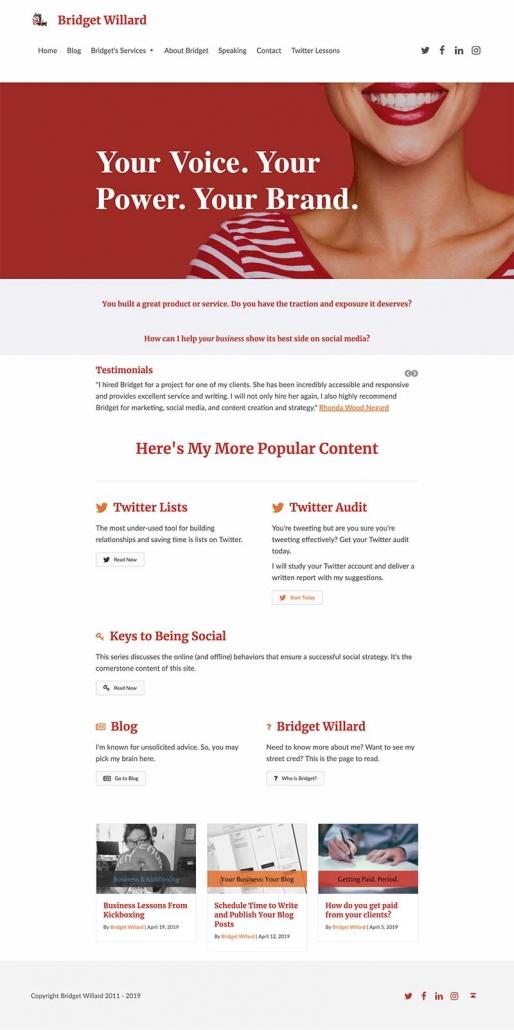 Bridget Willard dot com screenshot before homepage redesign but after placing the new hero image