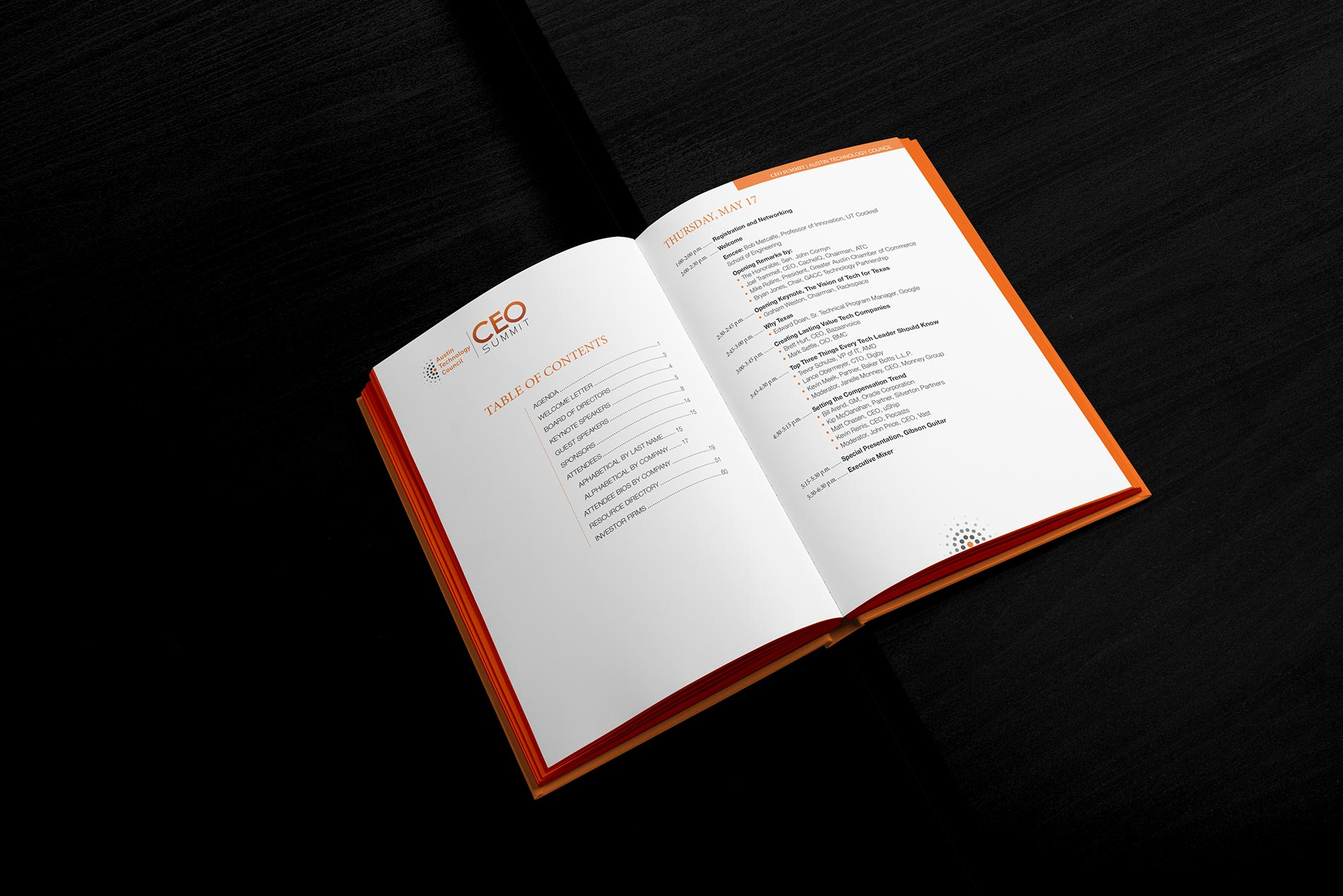 Mockup of CEO Summit Program for Austin Technology Council