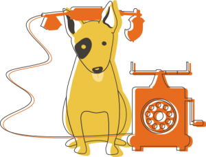 Illustration of dog on phone