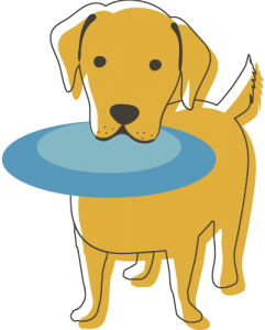 Illustration of Golden Retriever with Frisbee