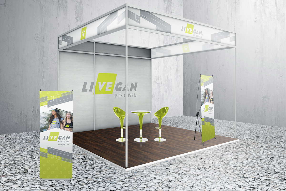 LiVEgan trade show designs mockup