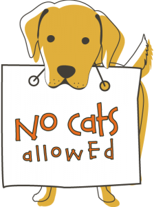 Illustration of a dog with a sign that reads No Cats Allowed