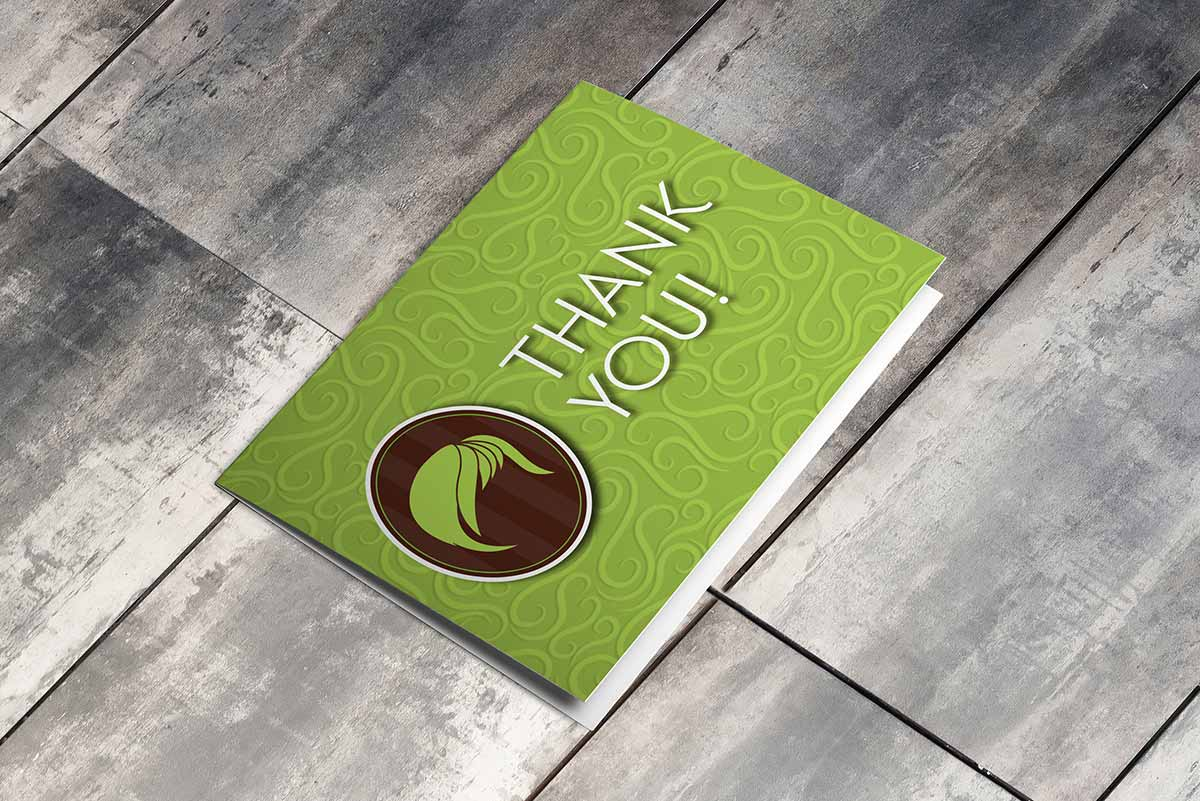 Salon Sass thank-you card mockup