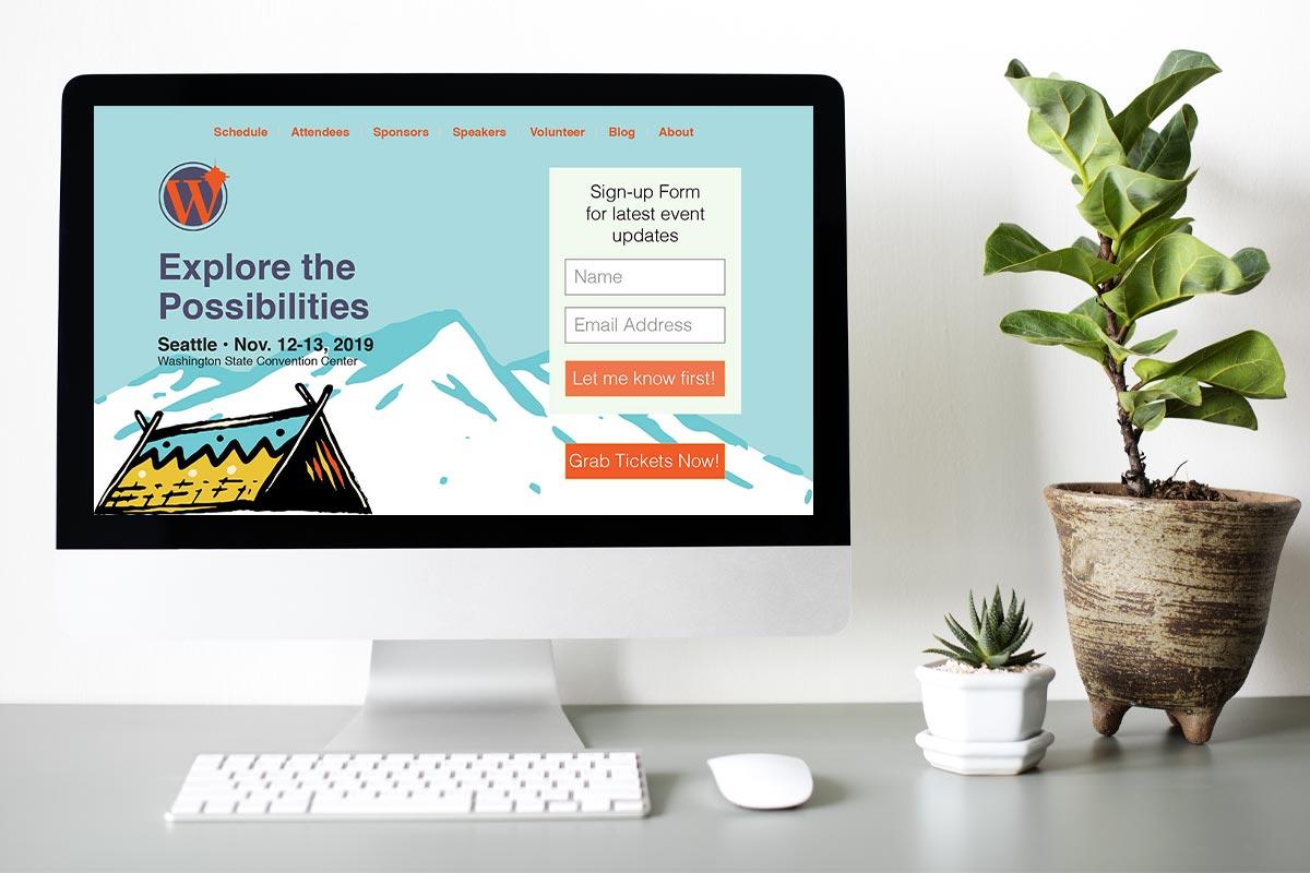 WordCamp Seattle 2019 website mockup