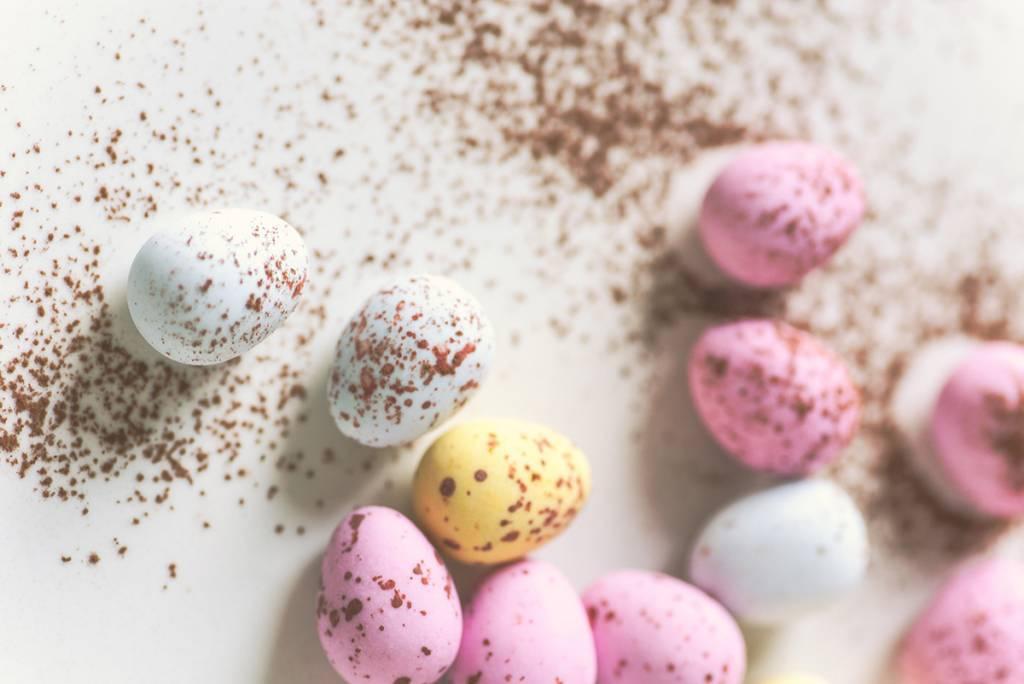 photo of pastel assortment of eggs