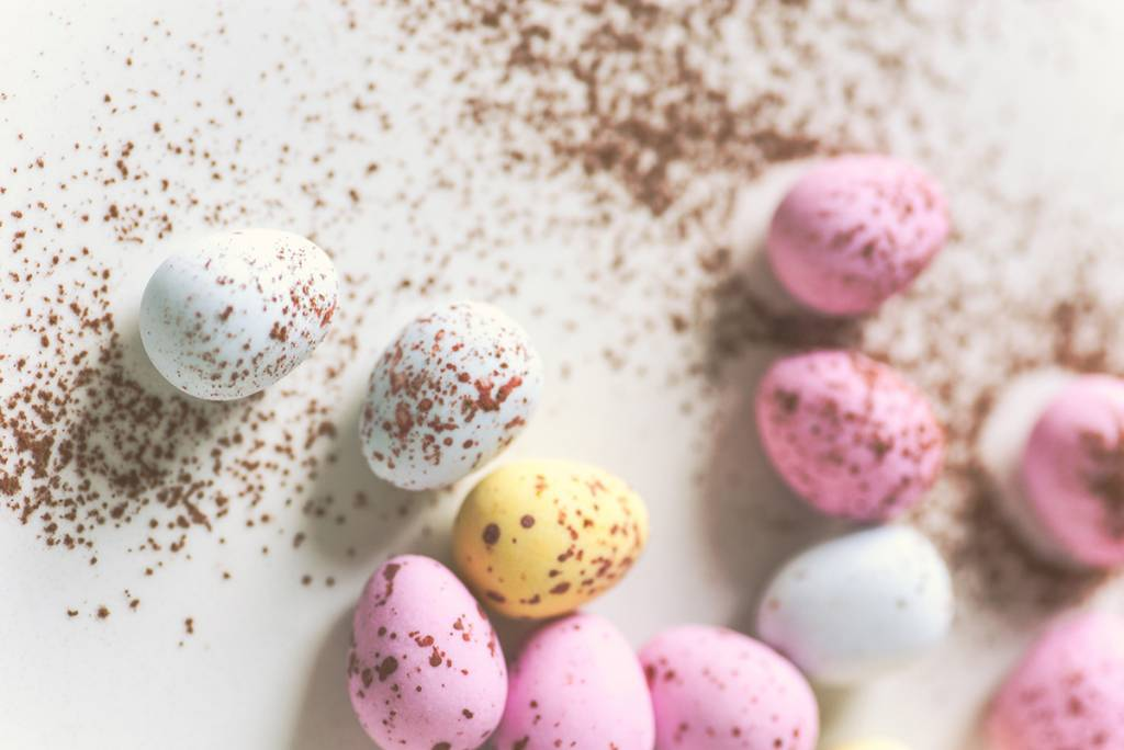 photo of pastel assortment of eggs