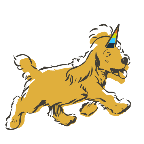 Illustration of a Cocker Spaniel running unicorn