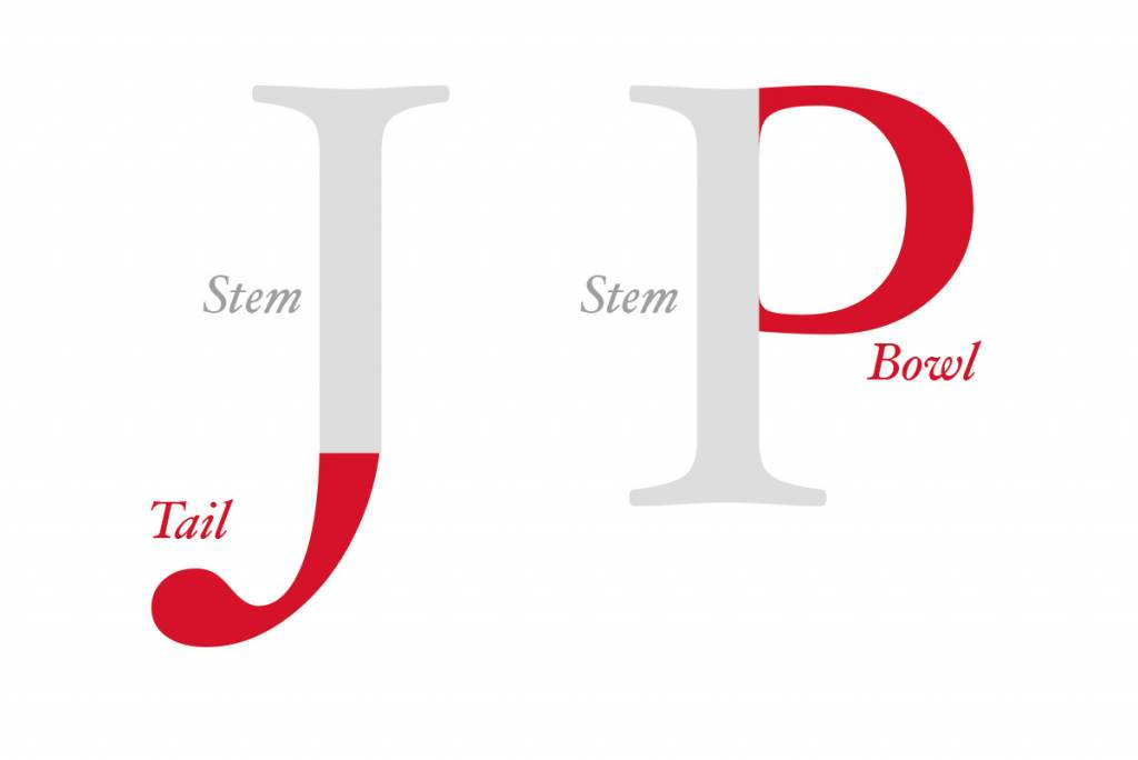 graphic illustrating parts of letters J and P