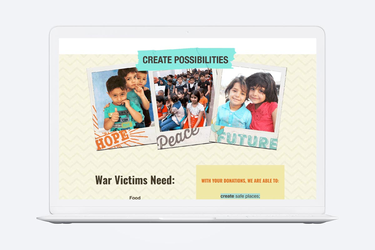 photo of Orphans of War Website on a laptop