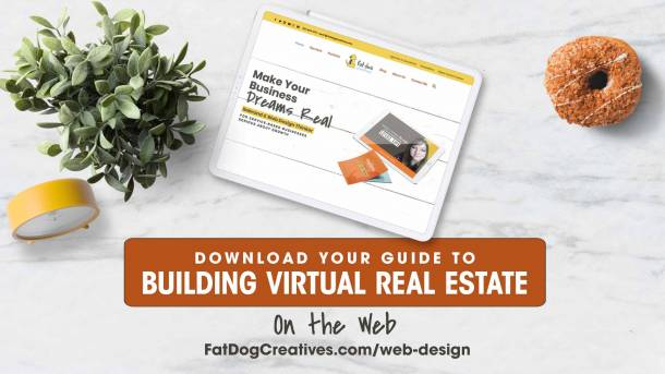 Graphic of iPad with Fat Dog Creatives website and call to action to download virtual web real estate guide
