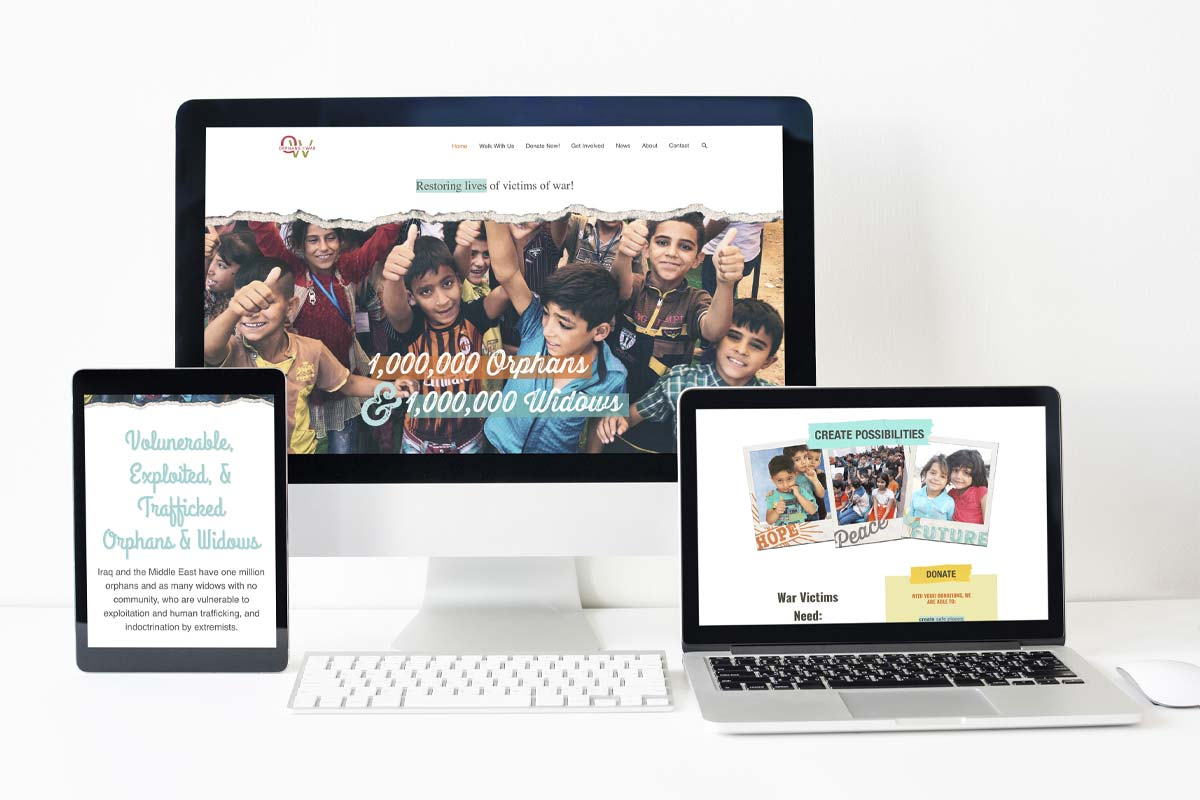 photo of Orphans of War Website on a desktop, laptop, and tablet display