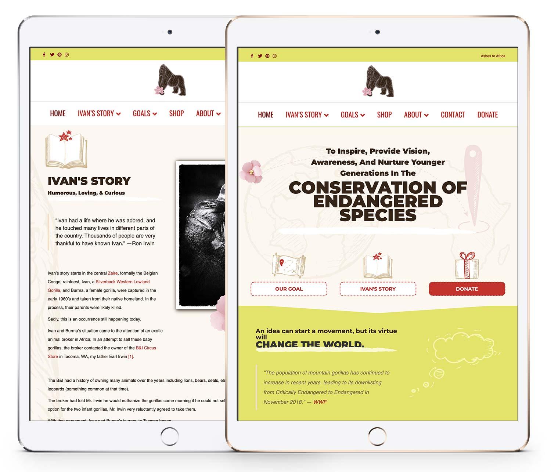 Ivan the Gorilla dot com website mockup on an iPad